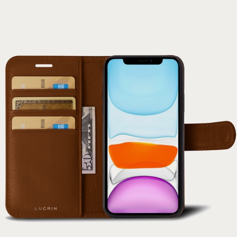 Чехол-кошелёк для IPhone 11 Pro Max - Коньяк - Гладкая кожа