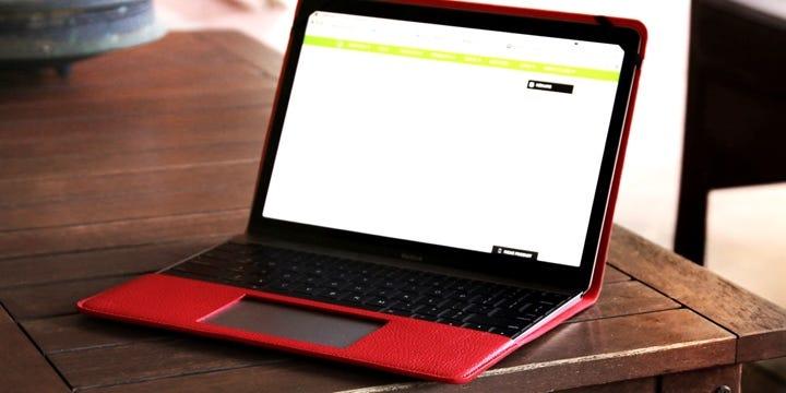 Оригинальный Чехол для MacBook - Красный - Зернистая кожа