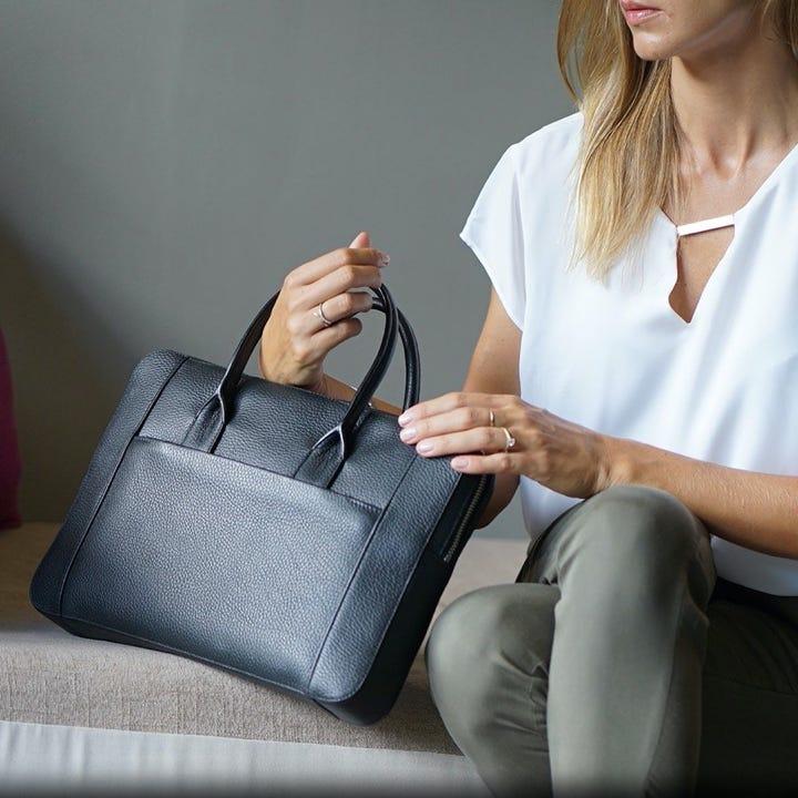 Плоский портфель для ноутбука 13 дюймов - Чёрный - Зернистая кожа